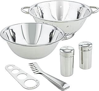 KOVOT 6-Piece Stainless Steel Pasta Set: Includes Pasta Colander, Mixing Bowl, Spaghetti Measurer, Tongs, Salt & Pepper Sh...
