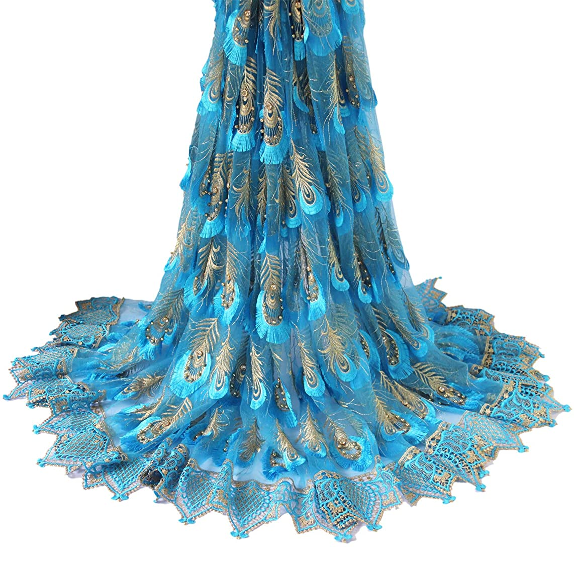 Aisunne 5 Yards African Lace Fabrics Blue Classics Nigerian French Lace Fabric with Embroidered Beading and Rhinestones for Wedding Party Dresses (Light Blue)