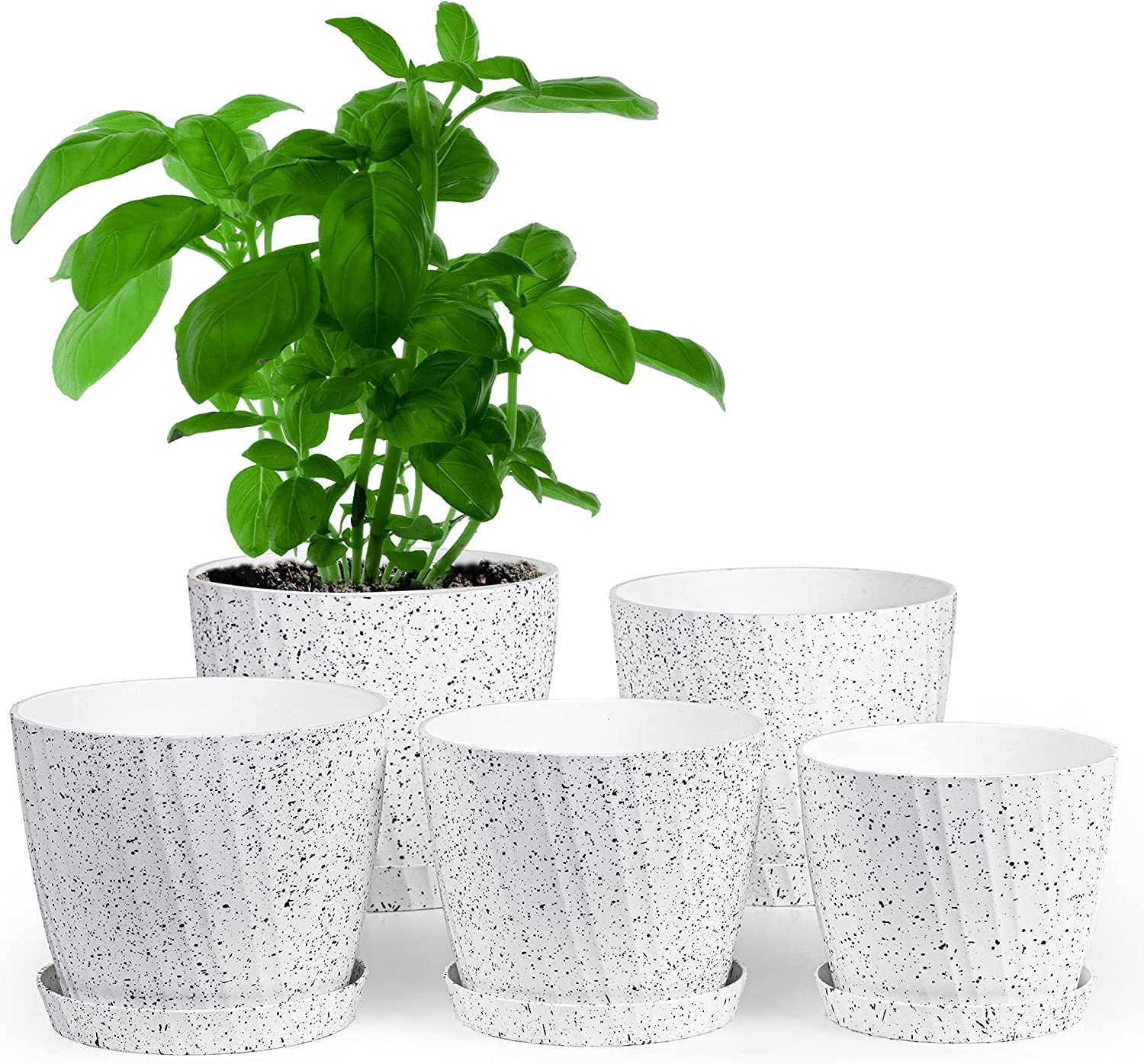 SMARTAKE 5 Pack Plastic Planters, 5.4/6/6.4/6.9/7.4 Inch Flower Plant Pots, Nursery Garden Balcony Pots with Drainage Holes and Tray, for Indoor, Outdoor, Office, Succulents, Cactus (White with Spots)