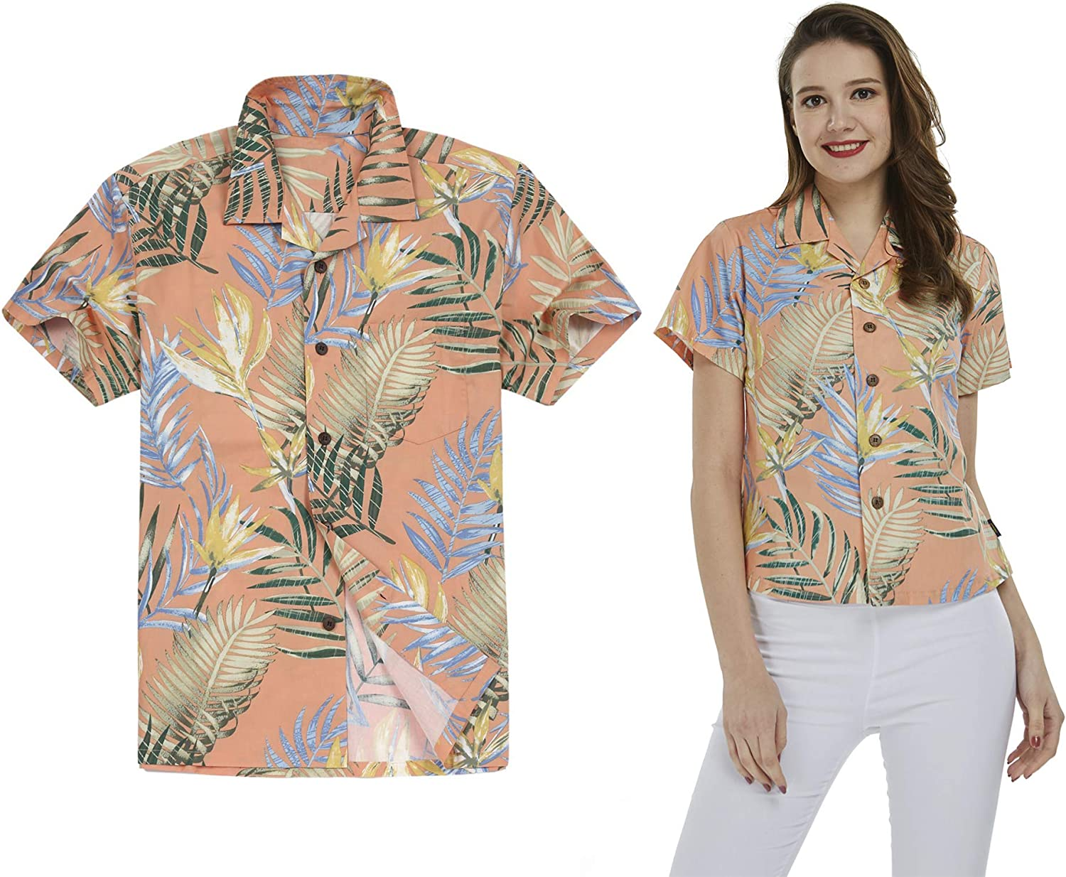 Product Couple Matching Hawaiian Luau Outfit Aloha Sunset in Special price Blue Shirts