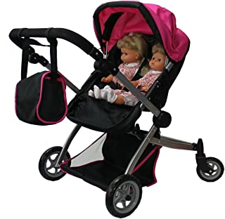 Babyboo Deluxe Twin Doll Stroller Foldable Double Doll Pram with Adjustable Handle, Swiveling Wheels, Convertible Seat, Basket, and Free Carriage Bag (Multi Function View All Photos) - 9651A