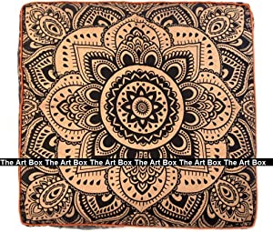 The Art Box-Indian Mandala Floor Pillow Square Ottoman Pouf Daybed Oversized Cushion Cover Cotton Seating Ottoman Poufs Dogs/Pets Bed Black & Gold