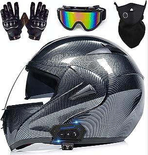 Motorcycle Bluetooth Helmet, Motocross Street Racing Helmet, Double Sun Visor Full Face Helmet, DOT Certified Off-Road Mot...
