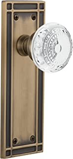 """(antiquebrass, 2-3/4"""") - Nostalgic Warehouse Meadows Privacy Door Knob with Mission Plate"""