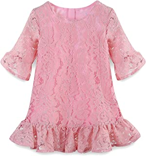 LittleSpring Girls' Red Floral Lace Dress Summer Rose Party Dress