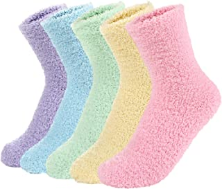 Zando Women Warm Super Soft Plush Slipper Sock Winter Fluffy Microfiber Crew Socks Casual Home Sleeping Fuzzy Cozy Sock