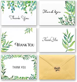 100 Thank You Cards with Envelopes and Stickers – White Kraft Paper Watercolor Floral, Greenery Leaves Bulk Notes for Gratitude – 5 Design Foliage Cards for Wedding, Baby Shower and All Occasions 4x6