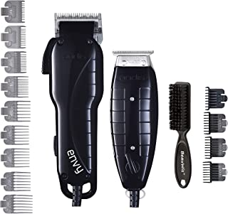 Andis Stylist Combo-Powerful تیغه گیره با سرعت بالا و T-Outliner T-trimmer با دندان های خوب برای اصلاح خشک، ترسیم و محو شدن با Brush Blade BeauWis شامل (سیاه و سفید)