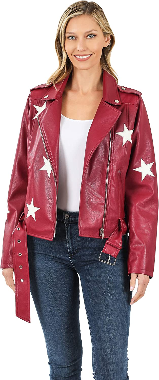 Women's Juniors PU Faux Vegan Leather Star Patch Moto Biker Belted Jacket