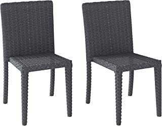 CORLIVING PCL-202-C Brisbane Patio Dining Chairs, Distressed Charcoal Grey