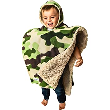 Children's Car Seat Poncho Toddler Boy Blanket Camo Tan Bear Sherpa Reversible Camouflage Warm Safe Coat
