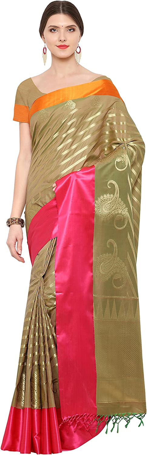 Aarah Women's Ethnic Indian Wedding And Reception Wear Pure Blended Silk Saree