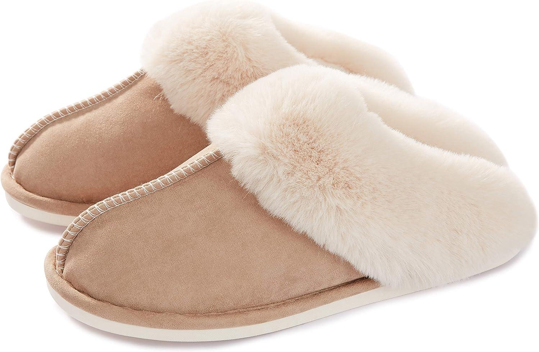 Donpapa Womens Slipper Memory Foam Fluffy Soft Warm Slip On House Slippers,Anti-Skid Cozy Plush for Indoor Outdoor(Light Brown 8.5-9 B(M) US)