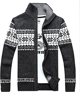 Kedera Men's Winter Knitted Flower Pattern Zip Up Cardigan Sweater
