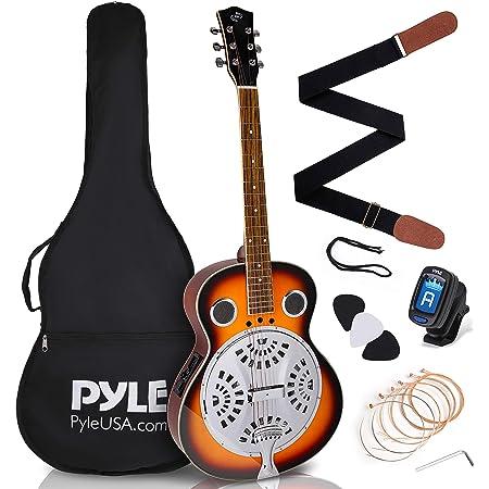 Pyle, Resophonic Acoustic Electric Guitar-6 Round Neck Sunburst Mahogany Traditional Resonator w/Built-in Pre Amplifier, Case Bag, Strap, Steel Strings, Tuner, Picks PGA500BR