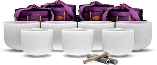 TOPFUND Chakra Tuned Set of 7 Crystal Singing Bowls 8-10 inch with Heavy Duty Carrying Cases and Singing Bowl Mallet Suede...