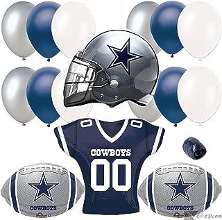 Dallas Cowboys Helmet & Jersey 17pc Balloon Pack, Navy Silver White