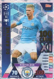 Match ATTAX Champions League 18/19 Kevin DE BRUYNE 100 Club Trading Card - Man City 18/19