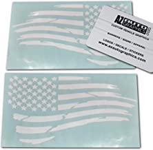 Az AutoGraphics Pair Distressed USA American Flag Decal Die-Cut Grunge Subdued Tattered Military (White)