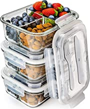 Prep Naturals Glass Meal Prep Containers 3 Compartment – Bento Box Containers Glass..