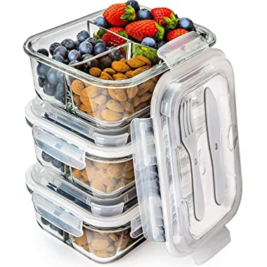 Prep Naturals Glass Meal Prep Containers 3 Compartment - Bento Box Containers Glass Food Storage Containers with Lids - Food Containers Food Prep Containers Glass Storage Containers with Lids 3 Pack