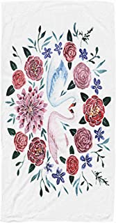 Shorping Kid Towel,Kids,Baby,Women and Men Beach Towels Painting Watercolor Swans Flowers White Background 30x60 Inch Large Pool Towels for Body Bath,Swimming,Travel,Camping,Sport
