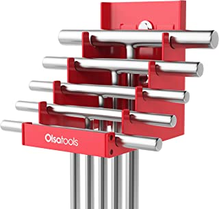 Olsa Tools Magnetic T-Handle Organizer for Tool Storage | Heavy Duty Magnetic Tool Organizer | Holds 5 T-Handles | Red