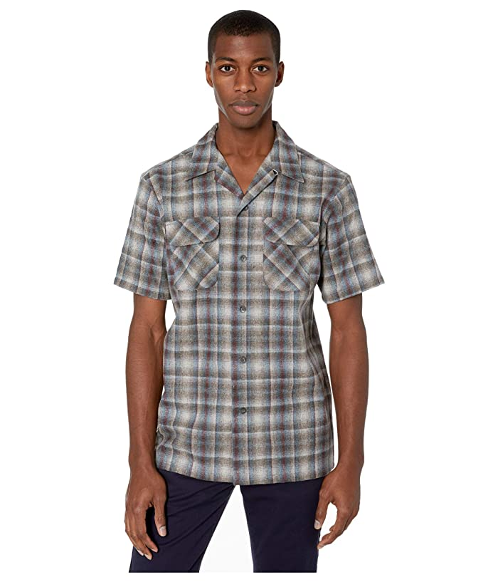 Mens Vintage Shirts – Casual, Dress, T-shirts, Polos Pendleton Short Sleeve Board Shirt Grey Multi Ombre Mens Clothing $121.50 AT vintagedancer.com