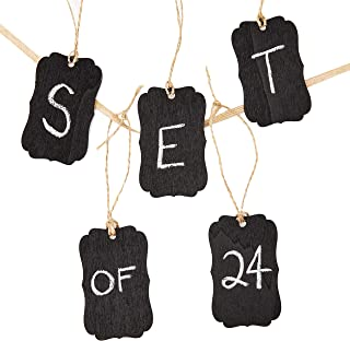 Genie Crafts 24-Piece Mini Wooden Chalkboard Tag Labels with String for Gifts, Mason Jars, DIY Crafts, 2 x 3 Inches