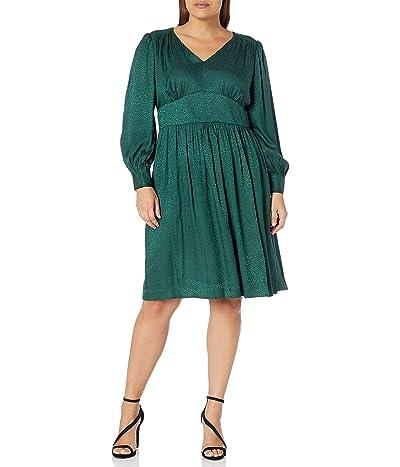 Calvin Klein Plus Size Sleeved Dress With V-neckline and Seamed Waist