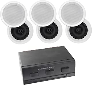3-Zone 6-Speaker Pack with 6.5-Inch in-Ceiling Speakers Poly Cone BUN900030