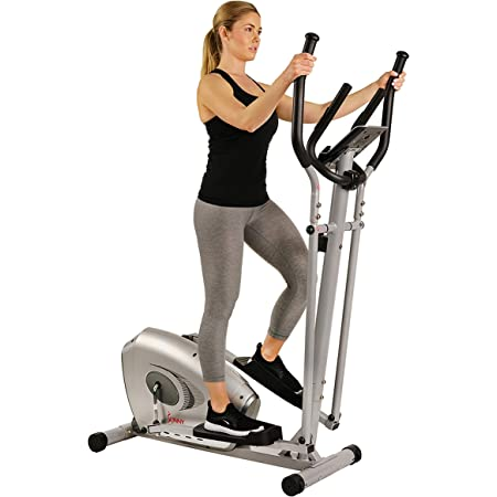 Sunny Health & Fitness SF-E3607 Magnetic Elliptical Bike Elliptical Machine w/ Device Holder, LCD Monitor and Heart Rate Monitoring, grey