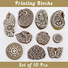 Asian Hobby Crafts Baren Handcarved Wooden Blocks for Stamping, Block Printing on Textiles, Pottery Crafts,Henna, Scrapbooking, Wall Painting: Set of 10pcs (Design C)
