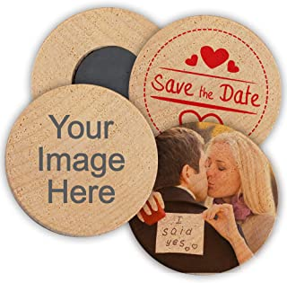 Personalized Wooden Wedding Magnets, Personalized Refrigerator Magnets, Custom Save The Date Magnets (Set of 50)