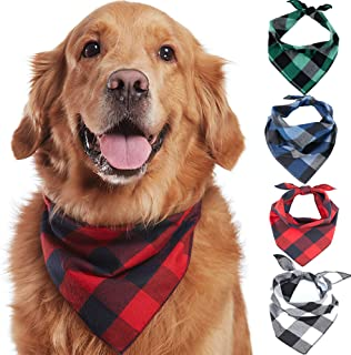Odi Style Buffalo Plaid Dog Bandana 4 Pack - Cotton Bandanas Handkerchiefs Scarfs Triangle Bibs Accessories for Small Medium Large Dogs Puppies Pets, Black and White, Red, Green, Blue and Navy Blue
