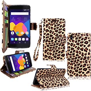 One Touch Idol 3 Case - Cellularvilla Diamond Glitter Pu Leather Wallet Flip Open Pocket ID Card Holder Slots Case Cover with Wrist Strap for Alcatel One Touch Idol 3 4.7 inch (Brown Leopard)