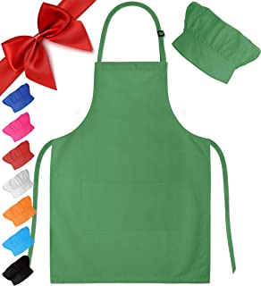 Dapper&Doll Green Kids Apron & Chef Hat for Boys & Girls Ages 4-10