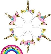 USA Toyz Unicorn Headband Party Favors - 6pk Unicorn Party Supplies, Unicorn Horn Headbands for Girls and Boys