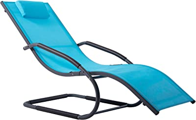 Renewed Ostrich CHS-1002S Chaise Lounge 77.16 x 24.6 x 13.4 inches Assembled Blue and White Striped