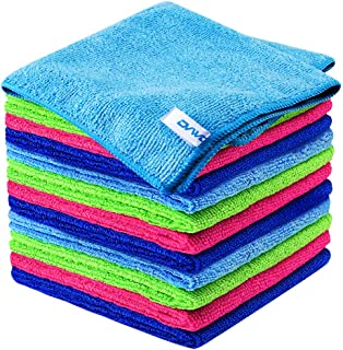 12Pcs Premium Microfiber Cleaning Cloth by ovwo - Highly Absorbent, Lint Free, Scratch Free, Reusable Cleaning Supplies - ...