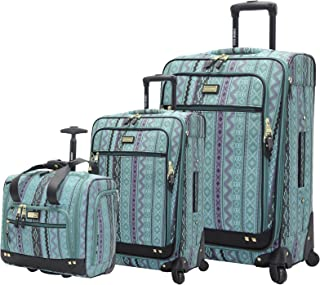 Designer Luggage Collection- 3 Piece Softside Expandable Lightweight Spinner Suitcases- Travel Set includes Under Seat Bag, 20-Inch Carry on & 28-Inch Checked Suitcase (Legends Turquoise)