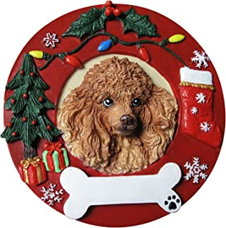 Poodle Christmas Ornament Apricot Wreath Shaped Easily Personalized Holiday Decoration Unique Poodle Lover Gifts