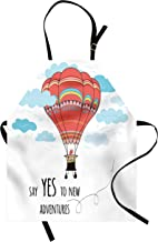 Ambesonne Cartoon Apron, Inspirational Words Say Yes to New Adventures Hand Drawn Hot Air Balloon, Unisex Kitchen Bib with Adjustable Neck for Cooking Gardening, Adult Size, Mint Pink