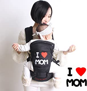 MOMSKISS Cotton Baby Carrier Backpack with Hip Seat for Infant, Child, Toddler- All Seasons 360 Ergonomic Baby Carrier - 6 Position Child Carrier - Black (3 Months+)