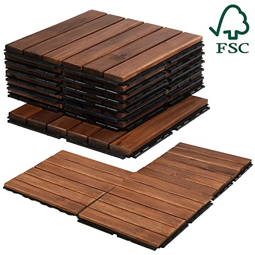 26Tiles , White 4half Tiles 55connectors I-DEAK Tiler WPC Composite Deck Tiles and Deck for Indoor and Balcony Ground or Wall Adornment Applications Interlocking Flooring Tiles in Solid Teak