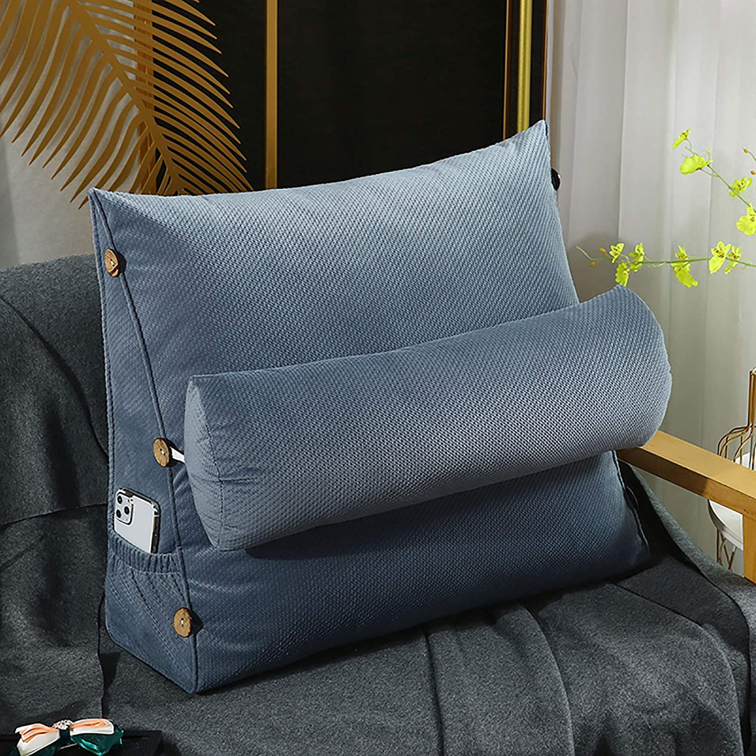 Bed Rest Reading Pillow Triangular Courier shipping free shipping Pockets Backrest OFFer with Detach