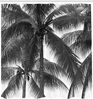 """Ambesonne Palm Tree Shower Curtain, Palm Tree Silhouette Exotic Plant on Dark Theme Foliages Relaxing in Nature Image, Cloth Fabric Bathroom Decor Set with Hooks, 84"""" Extra Long, Black"""