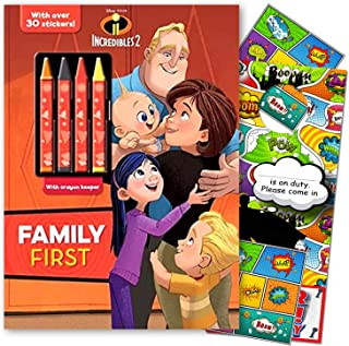 Disney The Incredibles Coloring Book with Crayons & Incredibles 2 Stickers Bundled with Separately Licensed GWW Super Hero Door Hanger & Reward Stickers