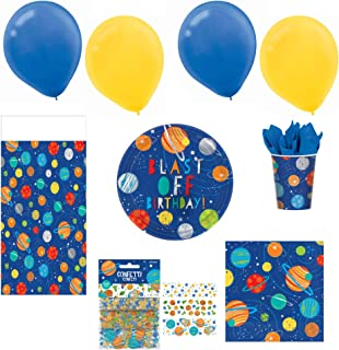 Blast Off Birthday 80-Piece Birthday Party Kit For 16 Guests, Includes Plates, Napkins, Cups, Balloons, Table Cover and Co...