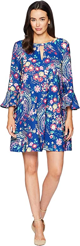 3/4 Ruffle Sleeve Floral Printed Keyhole Dress